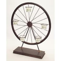 "Set of 2 Burnt Umber Brown Vintage Wheel Tea Light Candle Holders 20"""