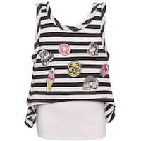 Little Girls Black White Striped Applique Detail Angled Hem Layered Shirt