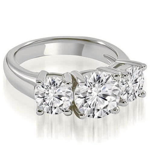2.00 cttw. 14K White Gold Three-Stone Basket Round Cut Diamond Engagement Ring