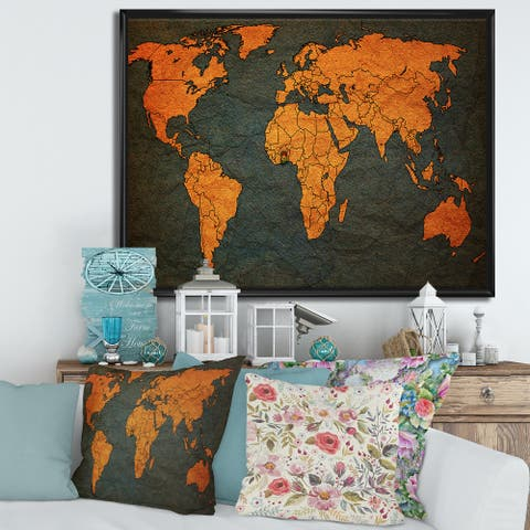 Designart 'Ancient Map of The World Africa' Vintage Framed Canvas Wall Art Print