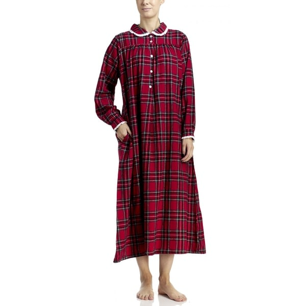 9117b85e52 Shop Lanz of Salzburg Women s Long Flannel Nightgown - Red - Free Shipping  Today - Overstock - 19429253