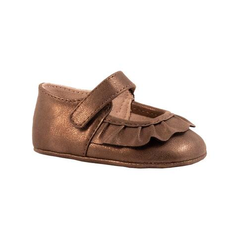 Baby Deer Girls Brown Shimmer Pleated Scallop Overlay Mary Jane Shoes