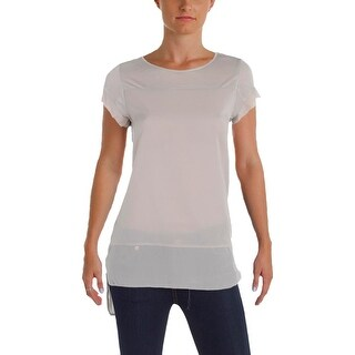 French Connection Womens Blouse Chiffon Mixed Media