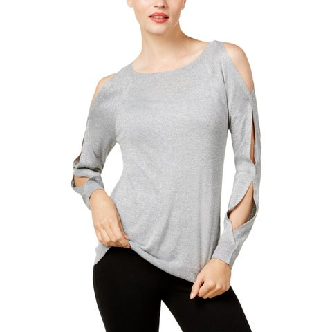 Vince Camuto Womens Pullover Sweater Metallic Cold Shoulder