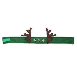 24 Green Adjustable Decorative Fleece Headband with Antlers and Bells