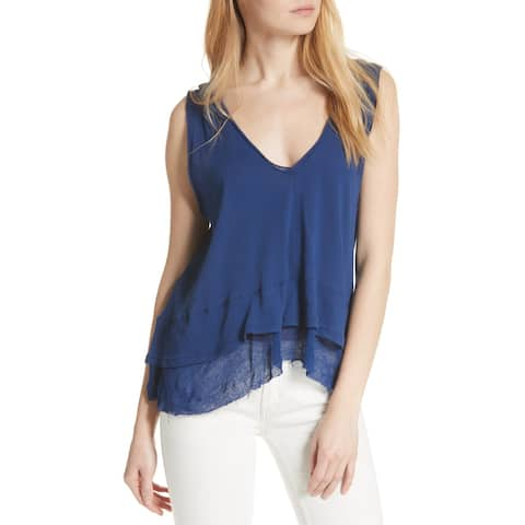 We The Free Blue Womens Size Small S V-Neck Tank Hi-Lo Hem Top