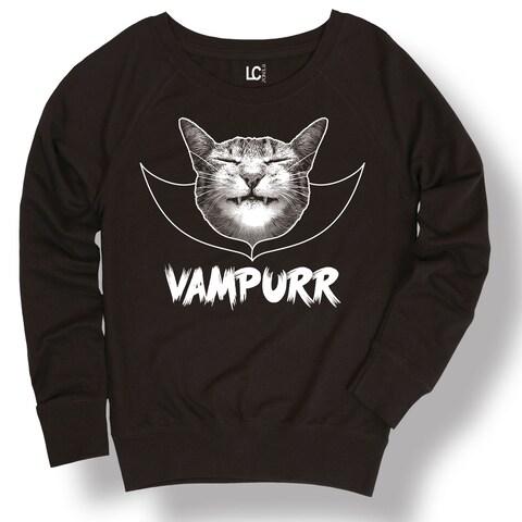 Vampurr Cat Vampire Halloween Scary Cute Style Kitten Animal-Ladies Sweatshirt