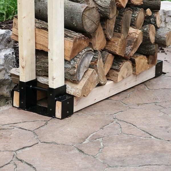 Shop Steel Diy Log Rack Brackets Kit Outdoor Adjustable Wood Storage