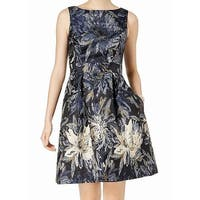 Jessica Howard Blue Womens 14 Floral-Print Brocade A-Line Dress