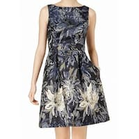 Jessica Howard Blue Womens 8 Floral-Print Brocade A-Line Dress