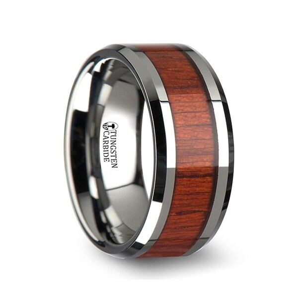 THORSTEN - NARRA Tungsten Wood Ring with Polished Bevels and Padauk Real Wood Inlay - 10mm