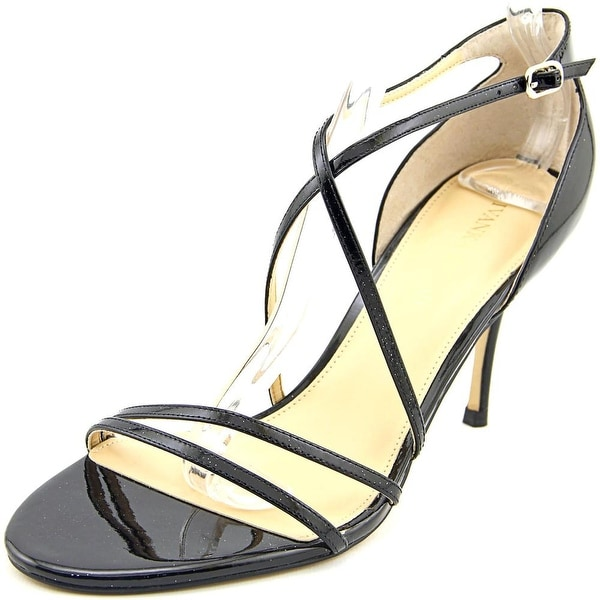 Ivanka Trump Garis 2 Women Open Toe Patent Leather Black Sandals