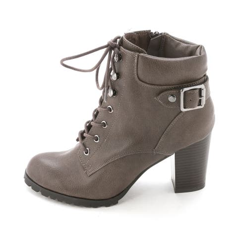 d6bd715c8348 Womens Caitlin Leather Closed Toe Ankle Combat Boots