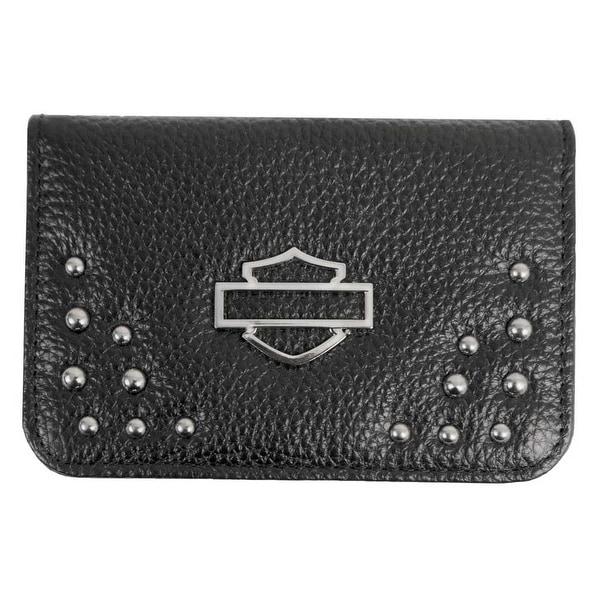 "Harley-Davidson Women's Studded Rider Leather Essentials Wallet RD4975L-BLK - 4"" x 3"""