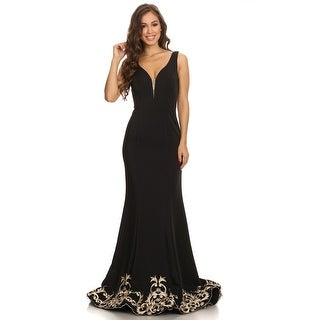 Long Embroidered Hem Stretch Satin Gown