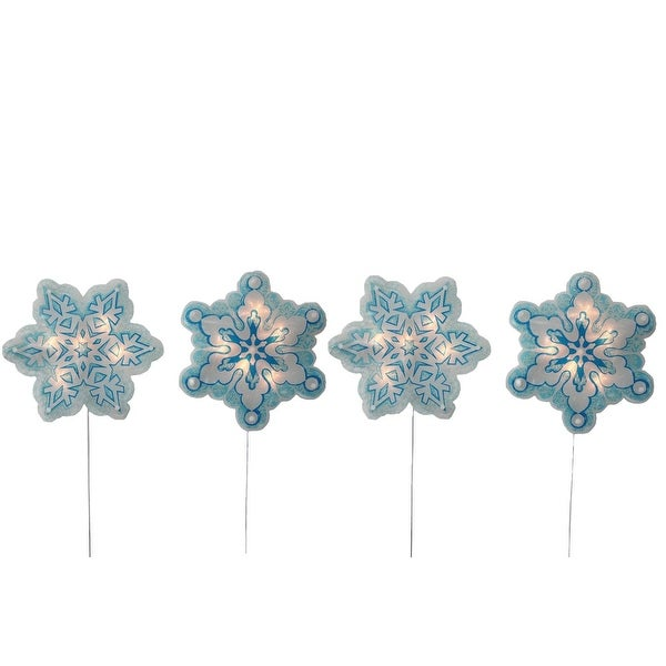 4-Piece Holographic Snowflake Lighted Christmas Pathway Marker Stake Set - BLue
