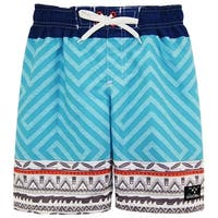 Big Chill Boys Tribal GEO Color Block Swim Trunk Rashguard