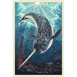 Narwhal - Letterpress - LP Artwork (100% Cotton Tote Bag - Reusable)