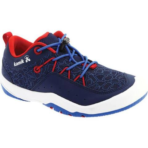 Kamik Children's Fundy Bungee Lace Camp Sneaker - Little Kid Navy Nylon Mesh/Faux Leather