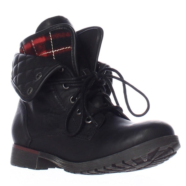 Rock & Candy Spraypaint Foldover Ankle Boots, Black Flannel