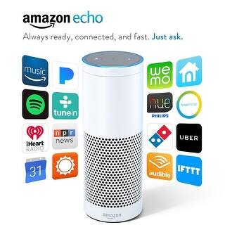 Amazon Echo - White|https://ak1.ostkcdn.com/images/products/is/images/direct/bcbd57948f0592ff6c7e91690a32b05816fb2e4f/Amazon-Echo---White.jpg?impolicy=medium