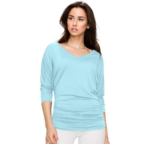Women's V Neck 3/4 Sleeve Drape Dolman Shirt Top with Side Shirring