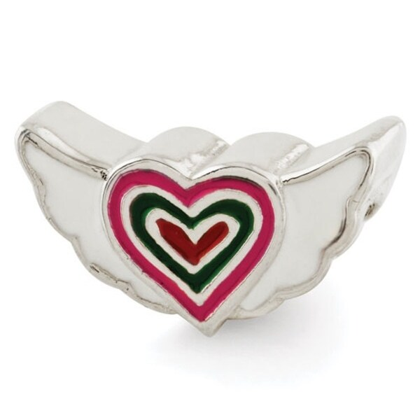 Sterling Silver Reflections Kids Enameled Heart with Wings Bead (4mm Diameter Hole)