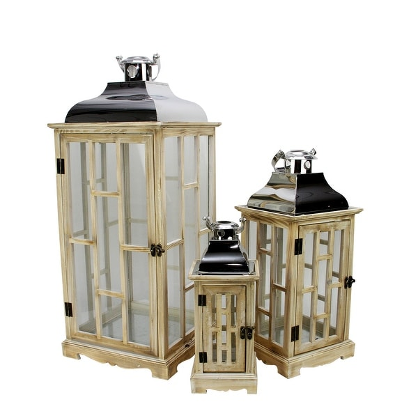 """Set of 3 Country Rustic Light Brown Wooden Lanterns with Silver Handles 30.5"""""""