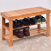 Light Brown Finish Solid Wood Storage Bench Free