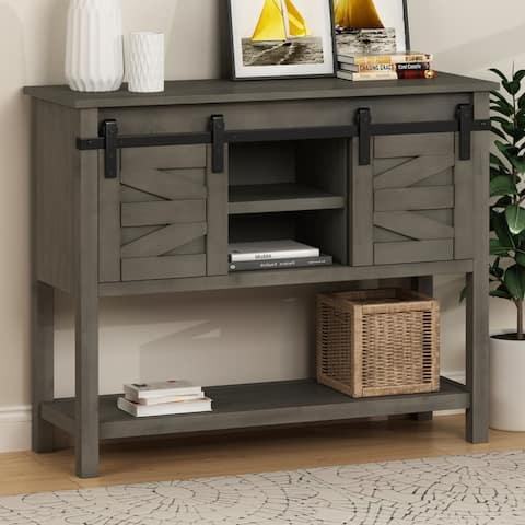 Rustic Sofa Console Table with 2 Sliding Doors