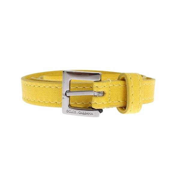 Dolce & Gabbana Dolce & Gabbana Yellow Leather Silver Buckle Logo Belt