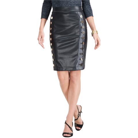 I-N-C Womens Faux-Leather Pencil Skirt, Black, Large