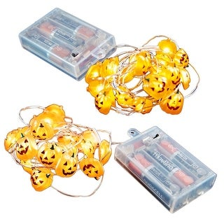 Set of 2 B/O Jack O' Lantern Mini String Lights with 20 Lights and Timer - Clear Wire