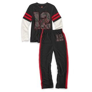Hanes Boys' Sleepwear 2-Piece Set, Varsity Print - Size - 8/9 - Color - Varsity
