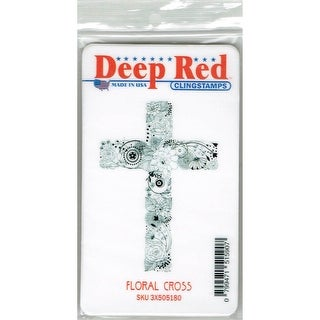 Deep Red Stamps Floral Cross Rubber Cling Stamp - 2.1 x 3