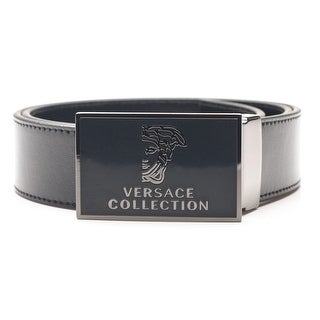Versace Collection Men's Medusa Stainless Steel Buckle Leather Belt Black