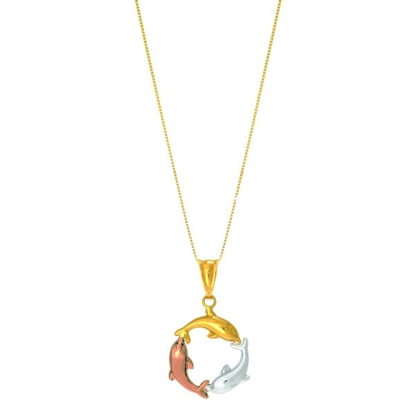 "Mcs Jewelry Inc 14 KARAT THREE TONE, YELLOW GOLD, ROSE GOLD, AND WHITE GOLD, CIRCLING DOLPHINS PENDANT NECKLACE (18"") - Multi"