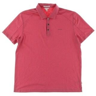 Calvin Klein Mens Polo Shirt Liquid Cotton Slub