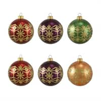 "6ct Glittered Earth Tone Floral Shatterproof Christmas Ball Ornaments 3.25"" 80mm"