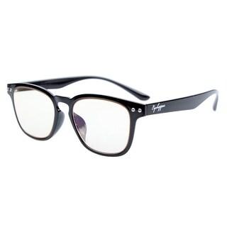 Eyekepper Vintage Flex Lightweight Plastic Frame Computer Glasses Black Yellow Tinted Lenses+0.5