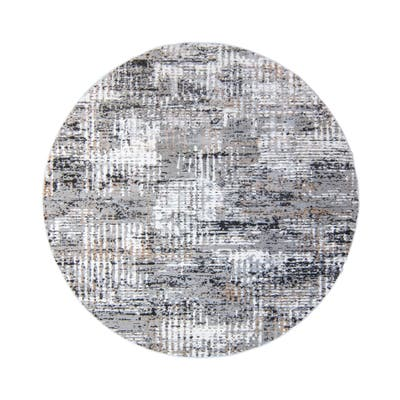 "Barga Latah Gray Area Rug (7'10"" Round) by Gertmenian - 7'10"" Round"