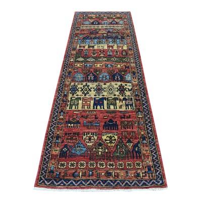"Shahbanu Rugs Rust Red Afghan Turkoman Ersari With Animal Figurines Design Organic Wool Hand Knotted Runner Rug (2'9""x8'10"")"