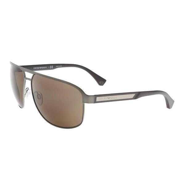 e10f844ce9a Emporio Armani EA2025 300373 Matte Gunmetal Rectangle Aviator Sunglasses
