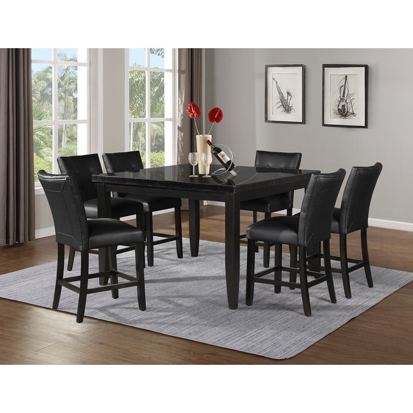 Porch & Den Merkem Square Black Marble Top 7-Piece Counter Height Dining Set. Opens flyout.