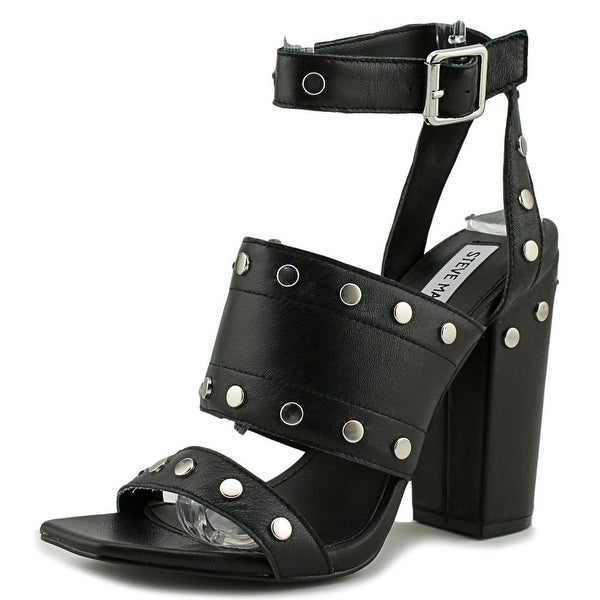 Steve Madden Jansen Women Open Toe Leather Black Sandals