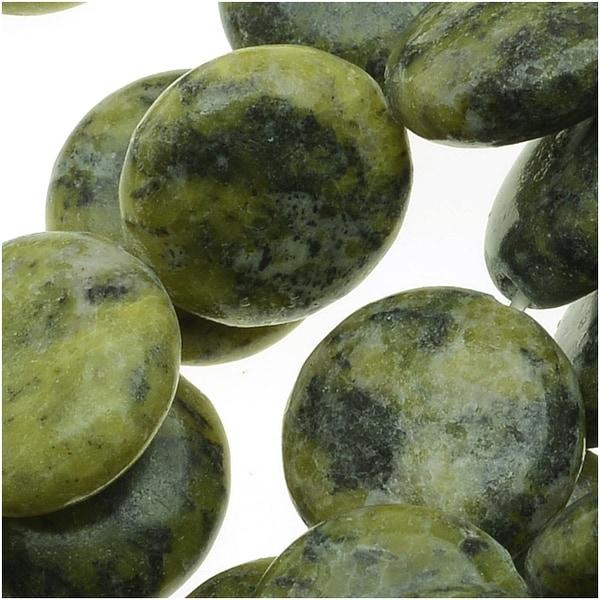 Serepentine Gemstone Beads, Smooth Coins 6x17mm, 1 Strand, Green