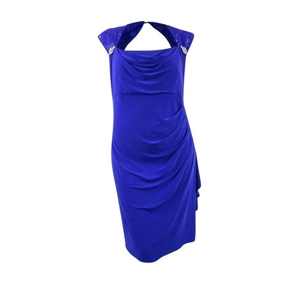 R& M Richards Women\'s Plus Size Embellished Shoulder Ruffled Dress