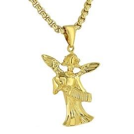 Archangel Playing Melodeon 18K Gold Tone Gods Holy Cherub Authentic Charm