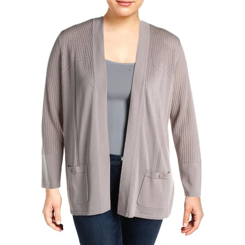 Anne Klein Womens Cardigan Sweater Pointelle Ribbed Trim - Oyster Shell - XL