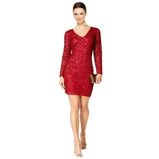 Adrianna Papell Long Sleeve V-Neck Beaded Cocktail Dress - 16